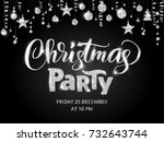 christmas party poster template ... | Shutterstock .eps vector #732643744