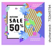autumn sale memphis style web... | Shutterstock .eps vector #732645784