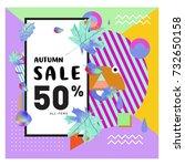 autumn sale memphis style web... | Shutterstock .eps vector #732650158