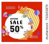 autumn sale memphis style web... | Shutterstock .eps vector #732652870