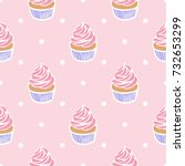 Seamless Pattern Of Cupcakes O...