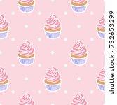 Seamless Pattern Of Cupcakes O...