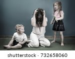 mother is depressed by... | Shutterstock . vector #732658060