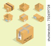 different box vector isometric... | Shutterstock .eps vector #732659728