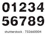 set of grunge numbers.vector... | Shutterstock .eps vector #732660004