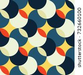 retro seamless pattern with... | Shutterstock .eps vector #732660100