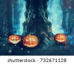 big crooked spooky tree in the... | Shutterstock . vector #732671128