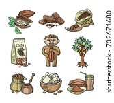 vector cocoa products... | Shutterstock .eps vector #732671680