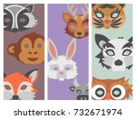 set of cartoon animals party... | Shutterstock .eps vector #732671974