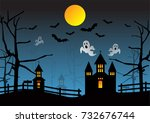 halloween background with... | Shutterstock .eps vector #732676744