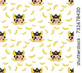 seamless pattern monkey and... | Shutterstock .eps vector #732678430