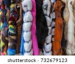 multicolored fur coats on... | Shutterstock . vector #732679123
