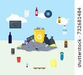 garbage dump or landfill card...   Shutterstock .eps vector #732681484