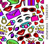 pop art girlish fashion sticker ... | Shutterstock .eps vector #732681514