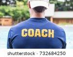 back of a sport coach's blue... | Shutterstock . vector #732684250