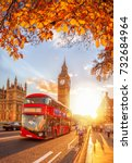 buses with autumn leaves... | Shutterstock . vector #732684964