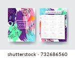 calendar 2018 template design ... | Shutterstock .eps vector #732686560