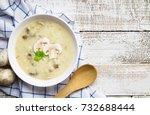 mushroom cream soup on white...   Shutterstock . vector #732688444