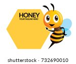 cartoon cute bee pointing to... | Shutterstock .eps vector #732690010