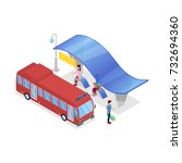 downtown bus stop isometric 3d... | Shutterstock .eps vector #732694360