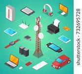 wireless technologies isometric ... | Shutterstock .eps vector #732695728