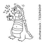 cartoon dinosaur. cough. sick.... | Shutterstock .eps vector #732696049
