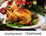 baked turkey  chicken . the... | Shutterstock . vector #732696640