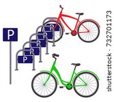 bicycle parking with two... | Shutterstock .eps vector #732701173