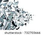 broken glass explosion on white ... | Shutterstock . vector #732703666