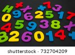 colorful wooden numbers on a... | Shutterstock . vector #732704209