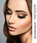 closeup face of a beautiful ...   Shutterstock . vector #732712159