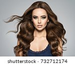beautiful caucasian woman with... | Shutterstock . vector #732712174