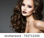 beautiful young woman with long ... | Shutterstock . vector #732712240