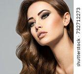beautiful caucasian woman with... | Shutterstock . vector #732712273
