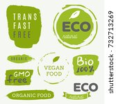 healthy food icons  labels.... | Shutterstock .eps vector #732713269