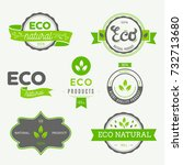 eco icons  labels set. organic... | Shutterstock .eps vector #732713680