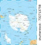 antarctic region map   detailed ...   Shutterstock .eps vector #732713758