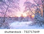 Beautiful winter landscape with ...