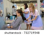 pregnant woman getting her hair ... | Shutterstock . vector #732719548