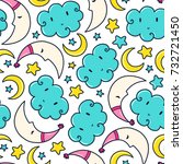 doodles cute seamless pattern.... | Shutterstock .eps vector #732721450