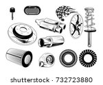 auto parts in vintage style.... | Shutterstock .eps vector #732723880