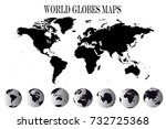 high detailed black globes and... | Shutterstock .eps vector #732725368