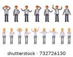 man and woman expression.... | Shutterstock .eps vector #732726130