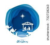 birth of christ. baby jesus in... | Shutterstock .eps vector #732728263