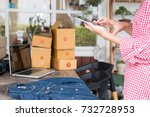 young start up small business... | Shutterstock . vector #732728953
