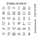 funeral icon set. collection of ... | Shutterstock .eps vector #732737599