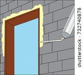 installing polyurethane foam | Shutterstock .eps vector #732740878