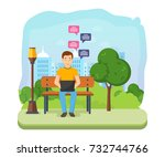 young people with gadgets in... | Shutterstock .eps vector #732744766