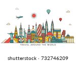 world skyline. travel and... | Shutterstock .eps vector #732746209