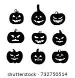 halloween pumpkins icon set... | Shutterstock .eps vector #732750514